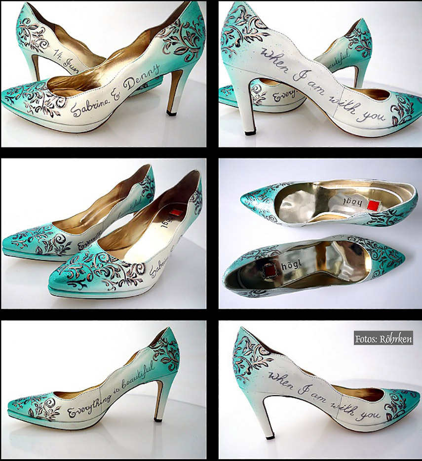 Brautschuhe Bemalen Lassen Schuhe Gestalten Lederbemalung Schuhe